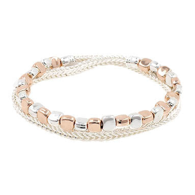 Double strand bracelet with rose gold and silver squares