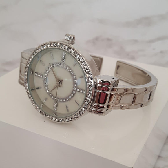silver bangle watch