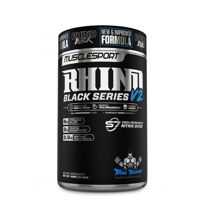 MuscleSport Rhino Pre Work Black V2 (40 Serve) 460g