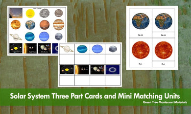 Solar System: Montessori Three Part Cards, Mini Matching Cards and Black-line Masters
