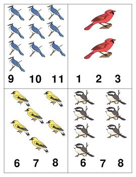 Birds: Count and Clip Cards for Math Centers