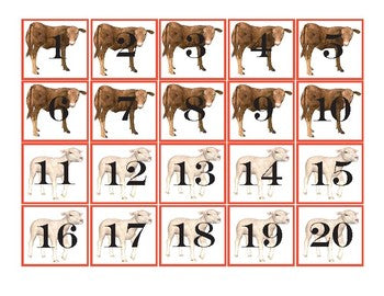 Farm Animals Pocket Chart Number Cards 1-100