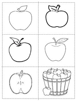 Freebie Fall Pin poking / cutting: Apples Blackline Masters