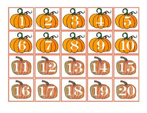 Fall- Pumpkins Pocket Chart Number Cards 1-100