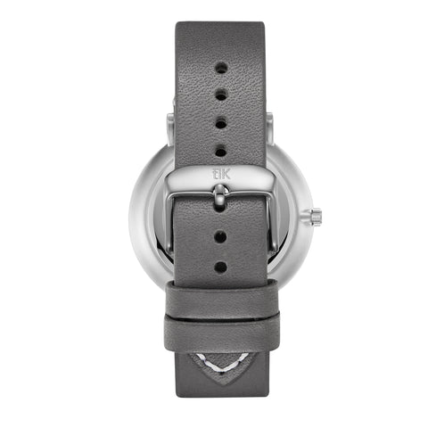 Gray Leather Strap - Silver Buckle