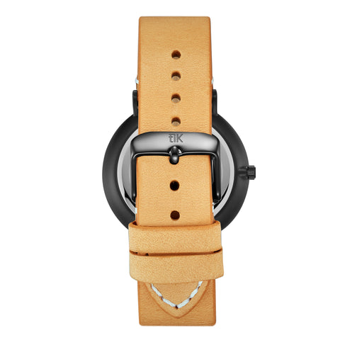 Tan Leather Strap - Black Buckle