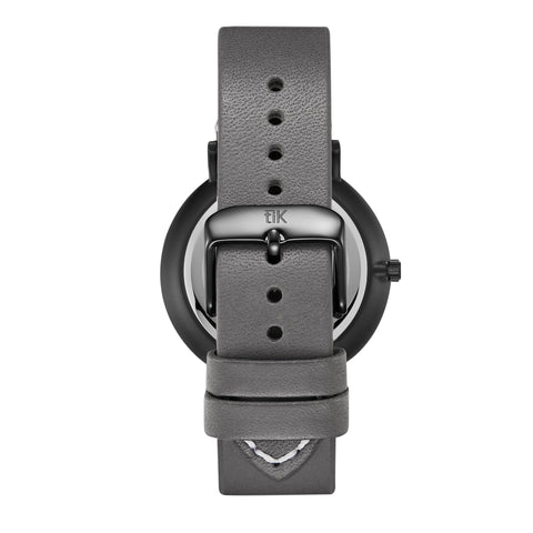 Gray Leather Strap - Black Buckle