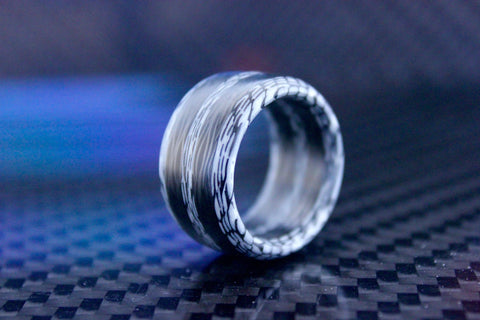 Carbon Fiber White Stripe Ring