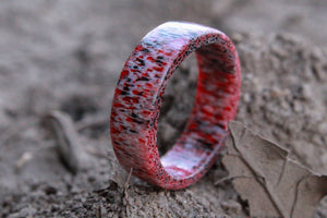 Black and Red Elk Antler Ring