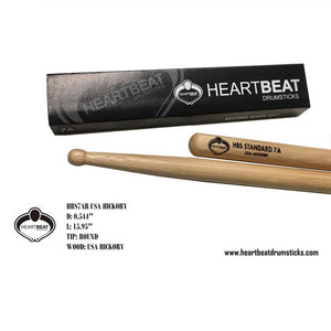 Heartbeat HBS 7A RED HICKORY ROUND Drumsticks