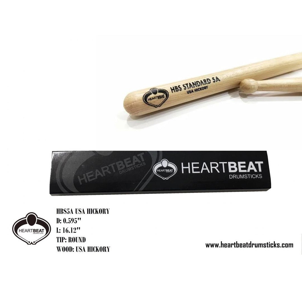 heartbeat HBS 5A HICKORY ROUND Drumsticks