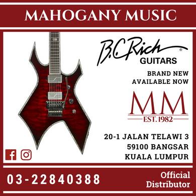 B.C Rich Warlock Extreme Exotic With Floyd Rose Black Cherry Burst Finish Electric Guitar