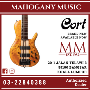 Cort A5 Plus SC Amber Open Pore 5 String Bass Guitar