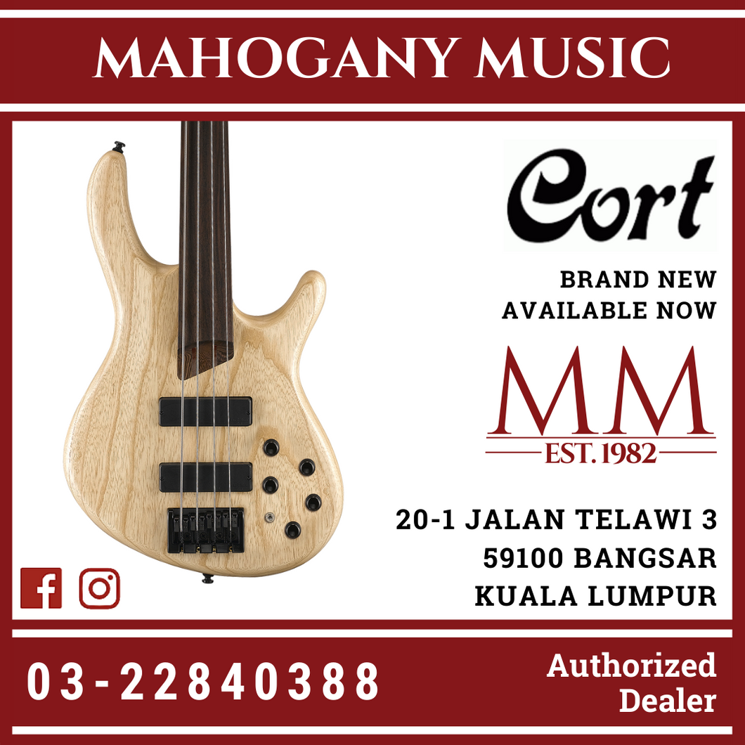 Cort B-4FL Open Pore Natural Fretless Bass