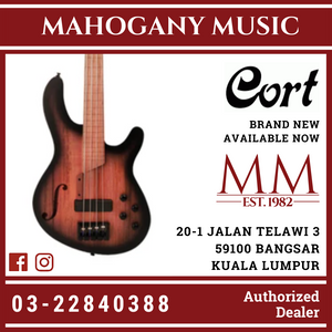 Cort B4FL MHPZ Open Pore Trans Black Burst 4 String Bass Guitar