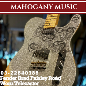 Fender Brad Paisley Road Worn Telecaster Electric Guitar, Maple FB, Silver Sparkle