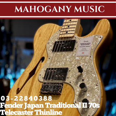 Fender Japan Traditional II 70s Telecaster Thinline Electric Guitar, Maple FB, Natural