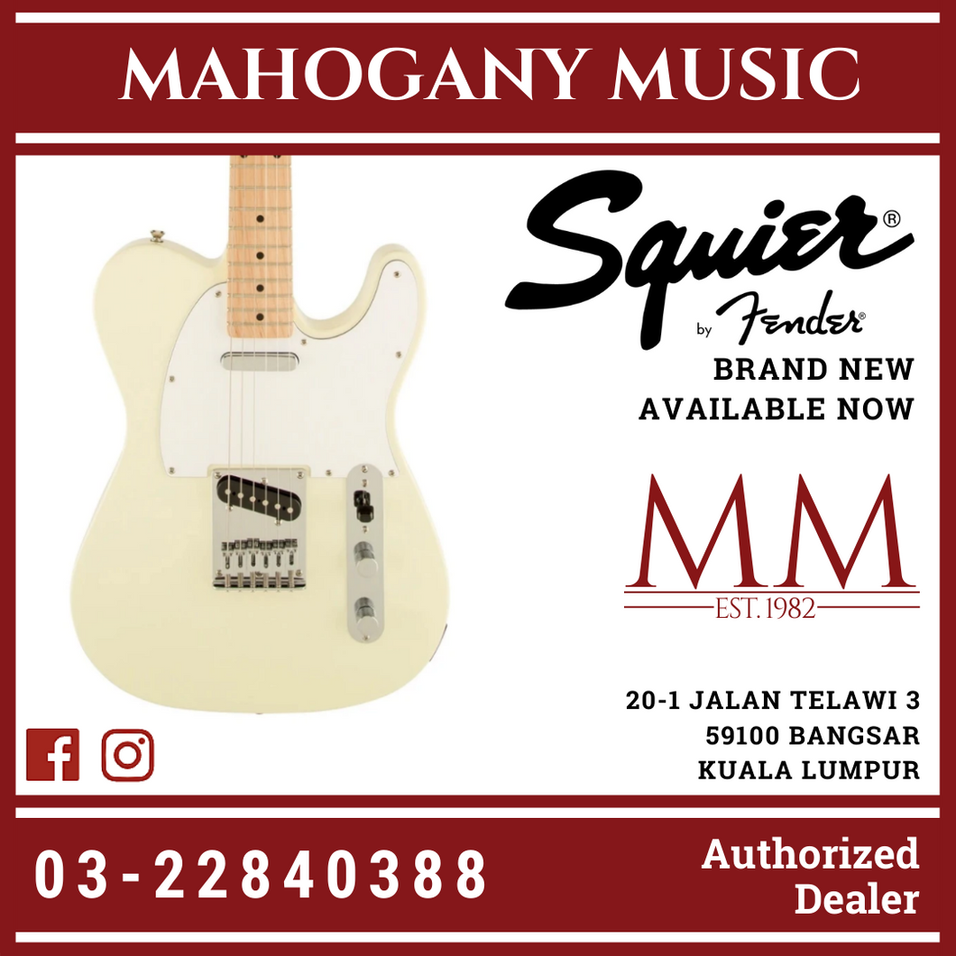 Squier Affinity Telecaster Electric Guitar, Maple FB, Arctic White
