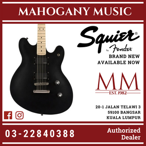 Squier Contemporary Starcaster Electric Guitar, Maple FB, Flat Black