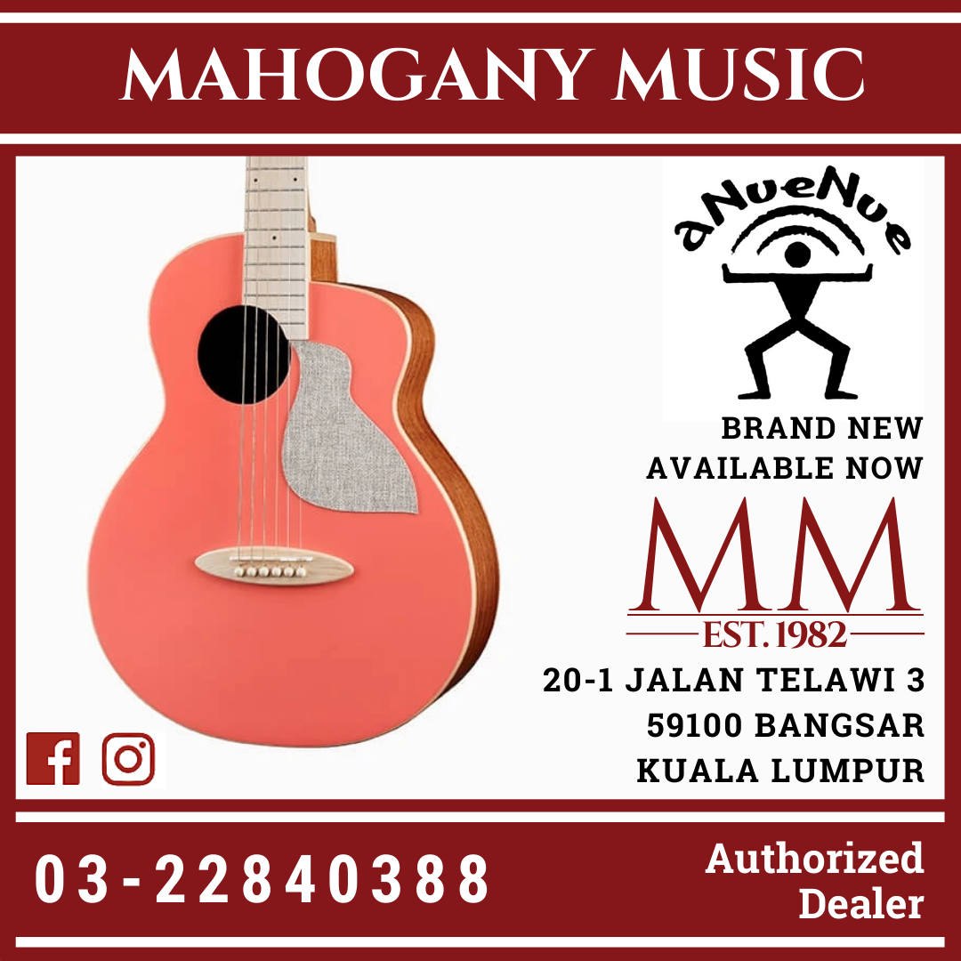 aNueNue Solid Top Bird MC10 LCE Living Coral Acoustic Guitar Pink