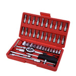 46pcs 1/4-Inch CR-V Socket Torque Steel Ratchet Wrench Combo