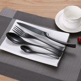 24Pcs/set Stainless Steel Black Cutlery Set