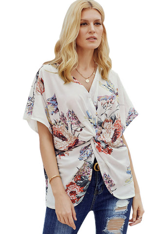 Women's Floral Print Short Sleeve V Neck Ruched Twist Tops - liustore