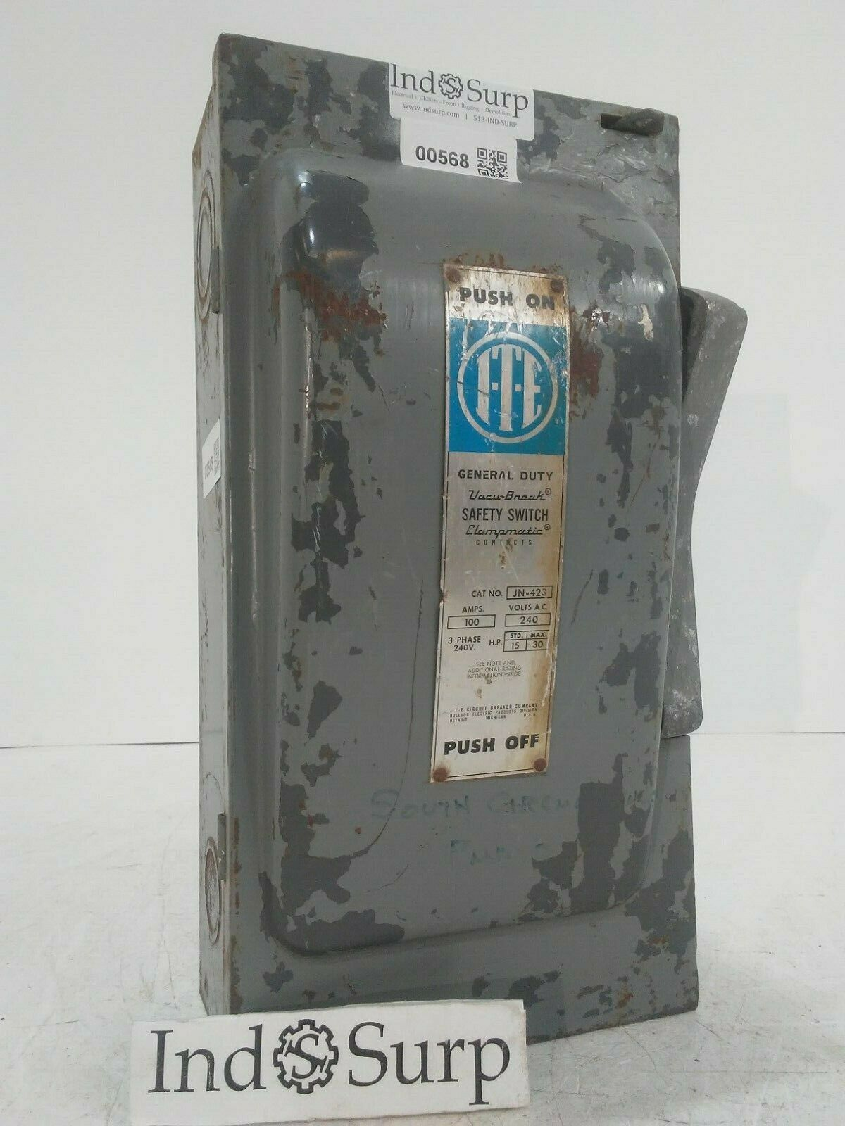 I-T-E 100 Amp Disconnect 240 Volt 3 Phase 3 Wire Fused