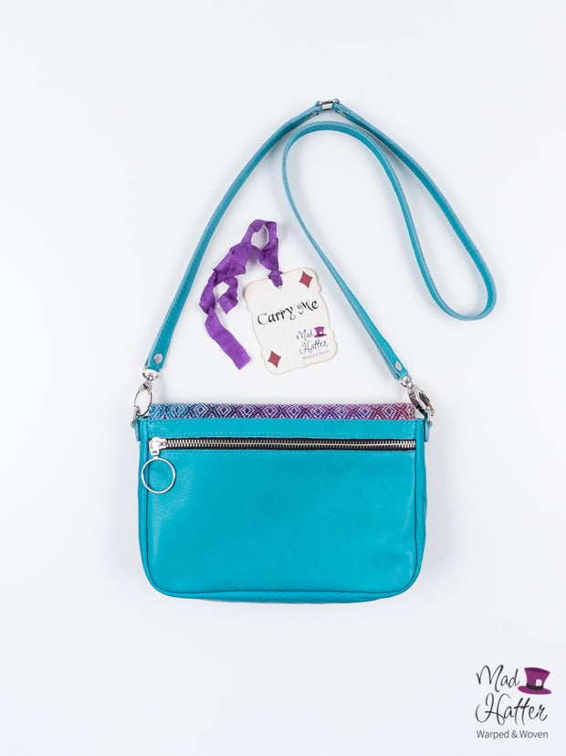 A Gardens of Memory Carrie Handbag, Handpainted Silk Merino with Sparkles, Turquoise Leather