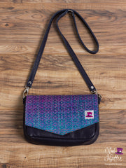 Gardens of Memory Carrie Handbag, Hand Painted Fine Silk Merino weft with Sparkles, Navy Leather