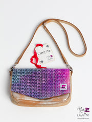 Falling Handbag Carrie Design, Handpainted Fine Silk Merino with Sparkles, Gold Foil Leather