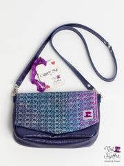 Falling Carrie Handbag, Hand Painted Silk Merino weft with Extra Sparkles, Blue Metallic Leather