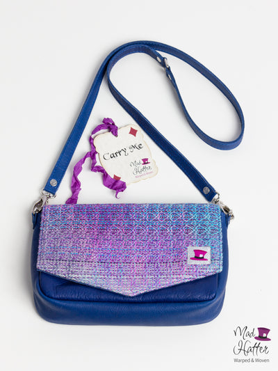Falling Handbag Carrie Design, Handpainted Fine Silk Merino with Sparkles, Blue Leather