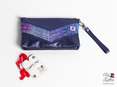 Falling Hartley Handbag, Hand Painted Thick Superwash Merino weft with Extra Sparkles, Blue Metallic Leather