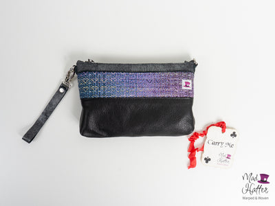 Align Hartley Handbag, Handpainted Superwash Merino weft with Sparkles, Black and Silver Foil Leather