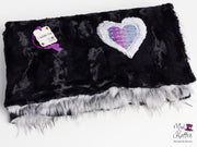 Mad Hatter Warped & Woven Falling Adorned Minky Blanket -Lap Size with Furry Backing