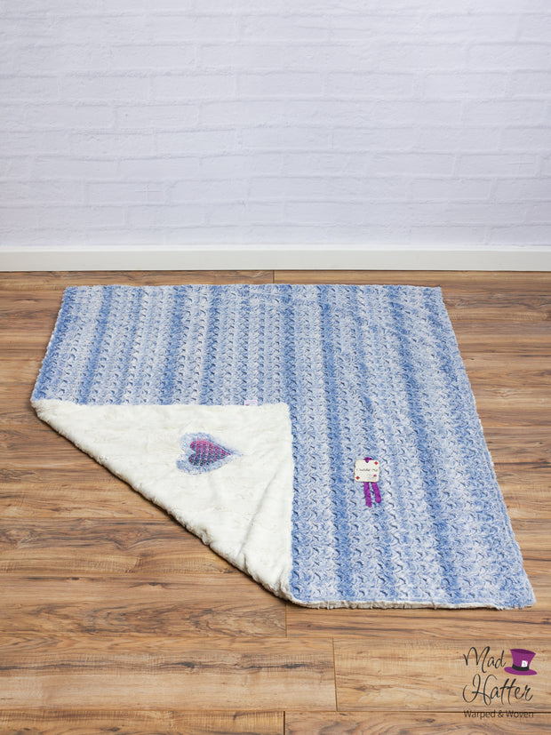 Mad Hatter Warped & Woven Falling Adorned Minky Blanket -Lap Size