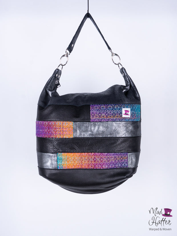 Gardens of Memory Paneled Ari, Handpainted Silk Merino with Sparkles, Black and Silver Foil Leather