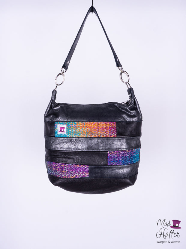 A Gardens of Memory Paneled Juliette, Hand Painted Silk Merino with Sparkles Weft, Black and Silver Foil Leather (2)