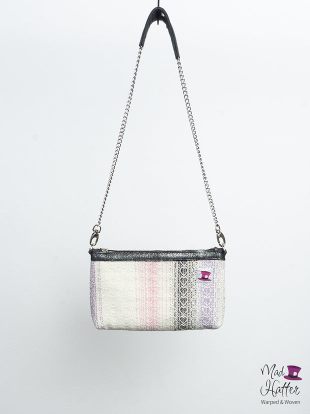 Promise Hartley Handbag, Superwash Merino Weft with Extra Sparkles, Silver Foil Leather