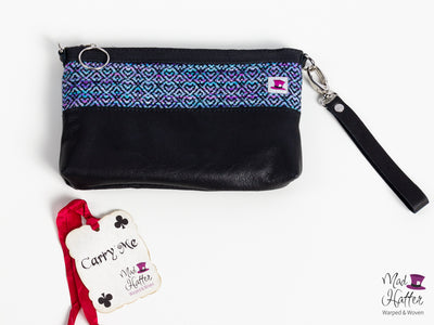 Vista Hartley Handbag, Hand Painted Thick Superwash Merino weft with Extra Sparkles, Black Leather