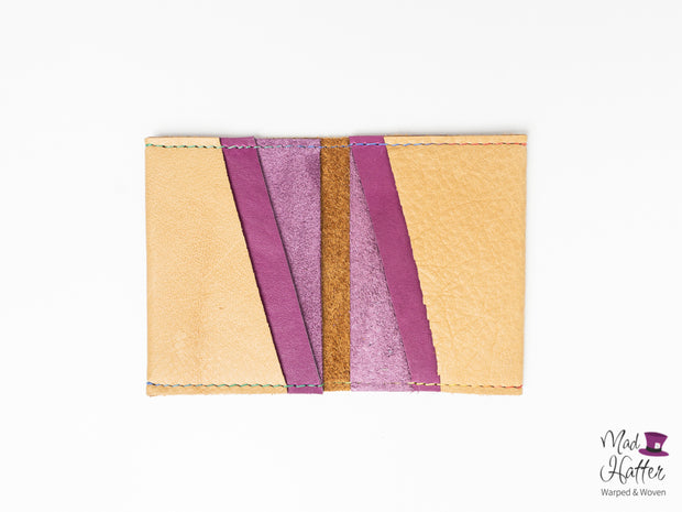 Glenn Card Holder with Rainbow Stitching, Tan and Magenta Leather