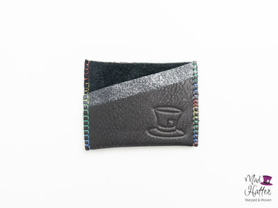 Stefani Card Holder with Rainbow Stitching, Black and Silver Foil Leather