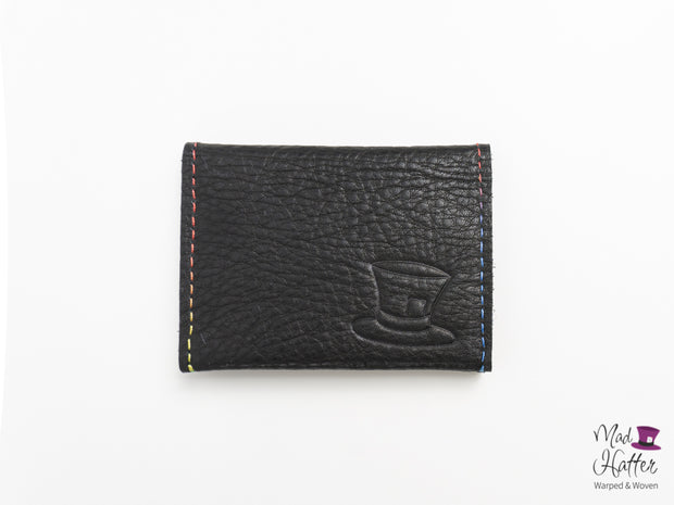 Glenn Card Holder with Rainbow Stitching, Black and Blue Leather