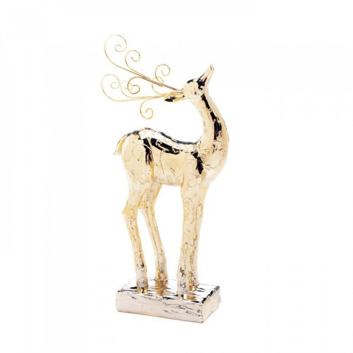 Golden Dasher Reindeer Statue