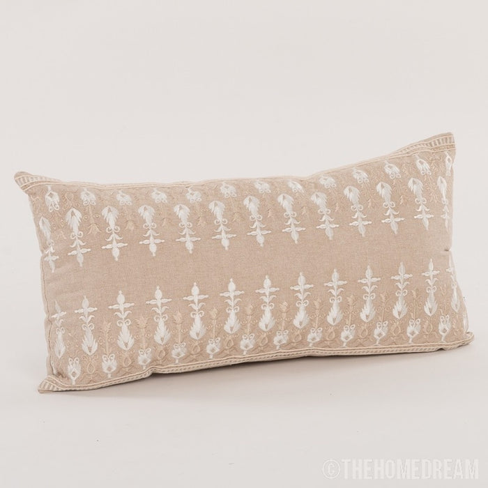 Dior Chambray Handmade Embroidered Lumbar Pillow Cover