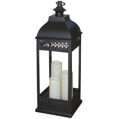 Smart Design-San Nicola Triple LED Candle Lantern Bronze