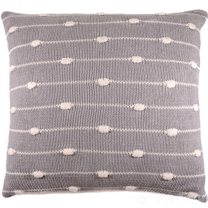 STRIPES & KNOTS Grey Knitted Cotton Square Cushion Cover