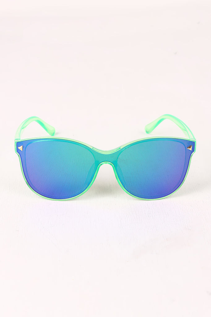 Stud Accent Mirrored Plastic Frame Wayfarer Sunglasses
