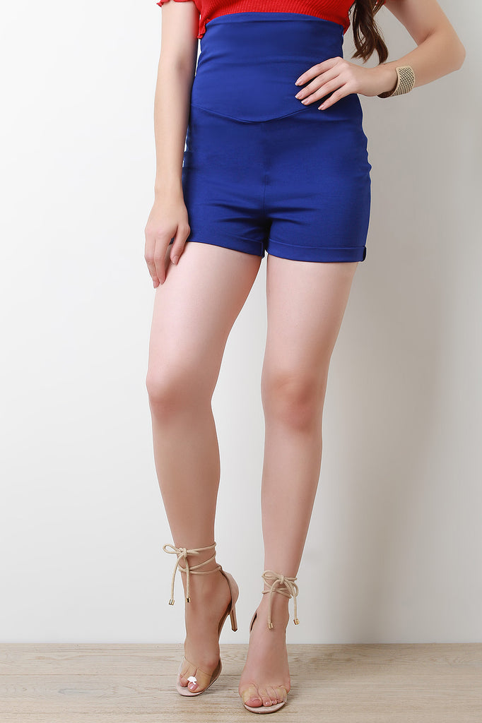 Empire Waist Cuff Shorts